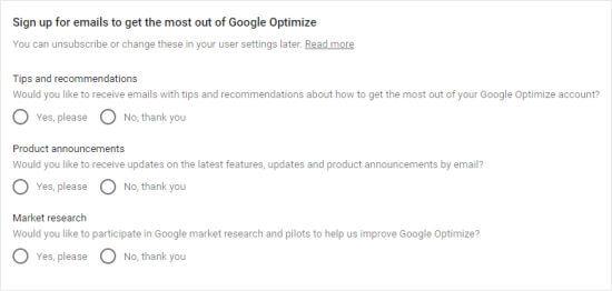 Scegli quali email desideri ricevere da Google