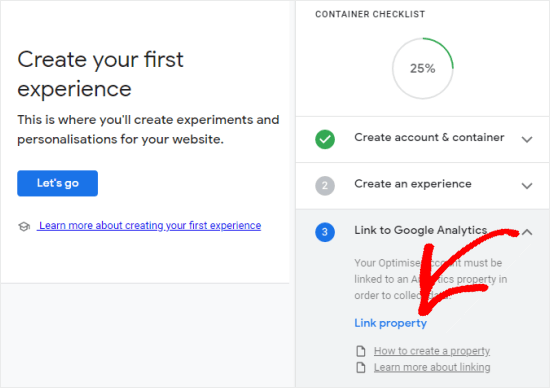 Linking Google Optimize to your website (click Link property)