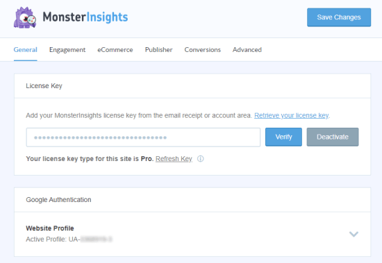 Enter your license number into MonsterInsights
