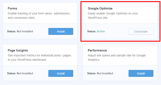 Installing the MonsterInsights Google Optimize addon