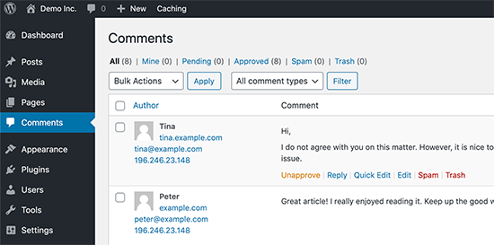 WordPress comment moderator dashboard