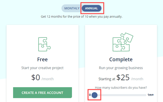 Choose the Annual pricing to get ConvertKit's best deal