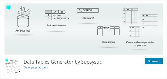 Plugin generatore di tabelle di dati per WordPress