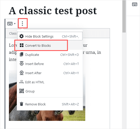 Converting an individual post to the new blocks format