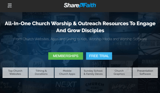 Sharefaith website builder for churches