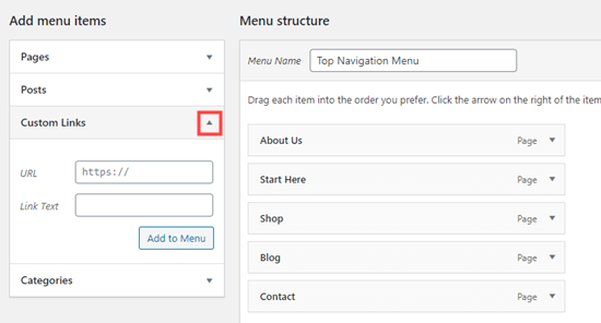 Adding a custom link to your navigation menu