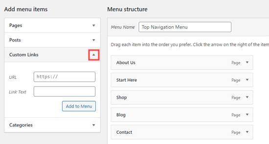 Aggiunta di un collegamento personalizzato al menu di navigazione