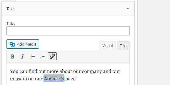 Aggiunta di un collegamento in un widget