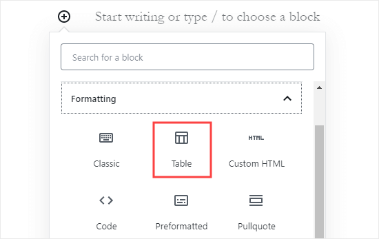 Adding a 'Table' block in the WordPress block editor