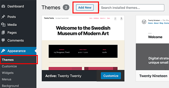 Add new theme in WordPress admin area