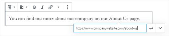 Creare un collegamento incollando un URL usando l'editor dei blocchi di WordPress