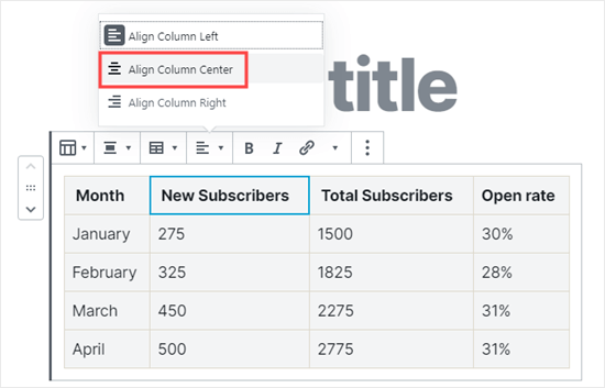 Changing the text alignment for your columns
