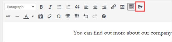 L'icona del pulsante Inserisci sul lato destro della barra degli strumenti dell'editor classico