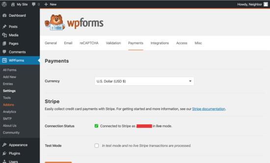 WPForms è collegato a Stripe per i pagamenti