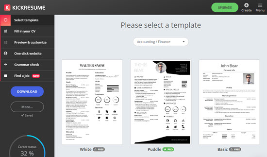 Some of the resume templates available from Kickresume
