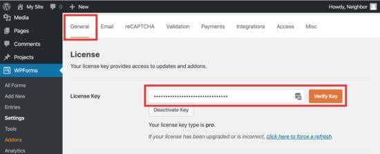 inserire la chiave di licenza per WPForm