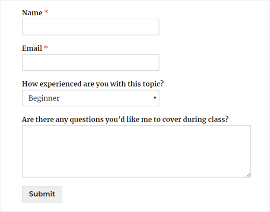 A simple registration form for an online class, showing name, email, a dropdown asking for level of experience, and a comment box