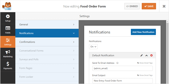 Viewing the notifications for your online food order form