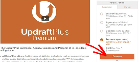 UpdraftPlus buy a plan