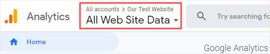 Check that you have the correct website selected in Google Analytics