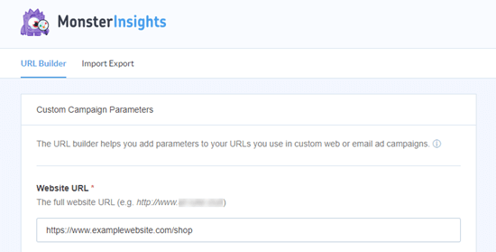 The MonsterInsights URL builder tool
