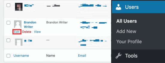 WordPress user dashboard