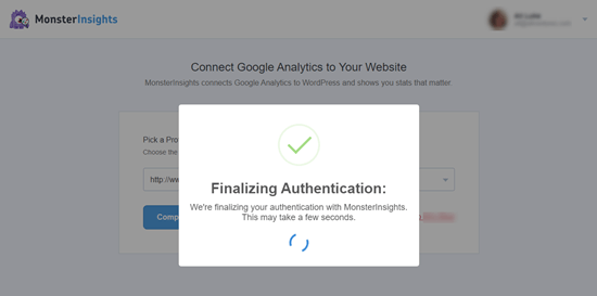 Connecting MonsterInsights to Google Analytics - authentication process