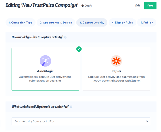 TrustPulse can 'automagically' detect form submissions on your site