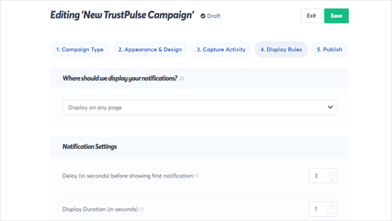 You can tweak the TrustPulse notification settings to work exactly how you want