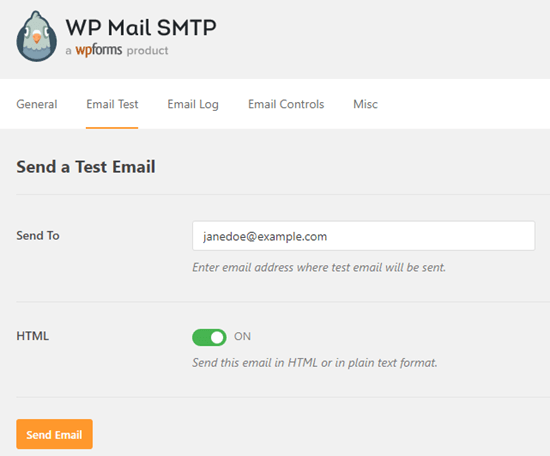 Sending a test email with WP Mail SMTP