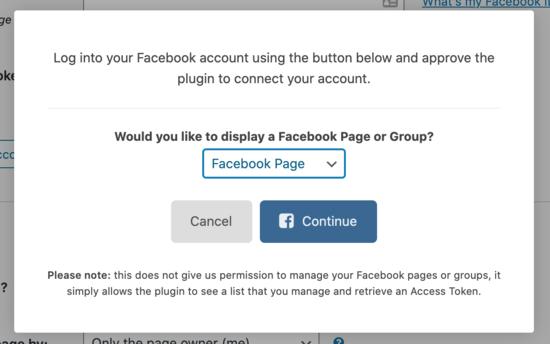 Continue Facebook connection