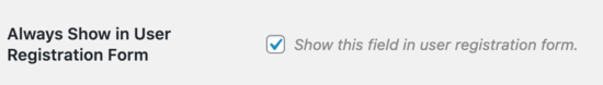 Mostra il campo utente nel modulo