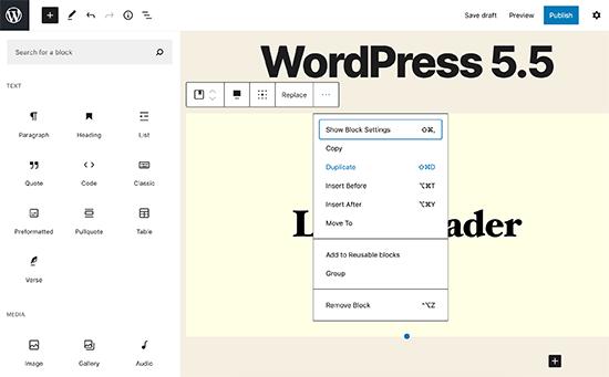 Modifiche all'interfaccia utente di Block Editor in WordPress 5.5