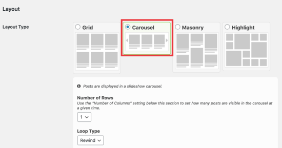 Carousel layout options