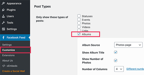 Display albums feed