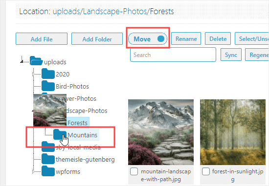Moving an image into the Mountains folder