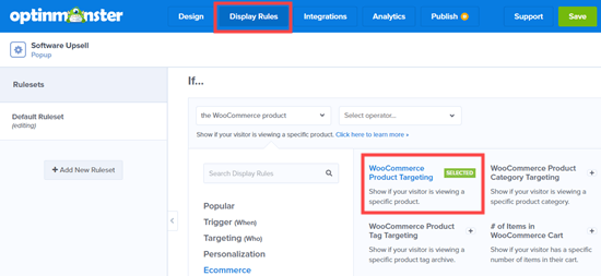 Using a product targeting rule in OptinMonster's display rules