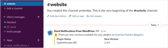 A plugin update notification in Slack
