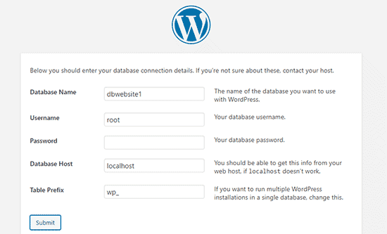 Enter your WordPress database information