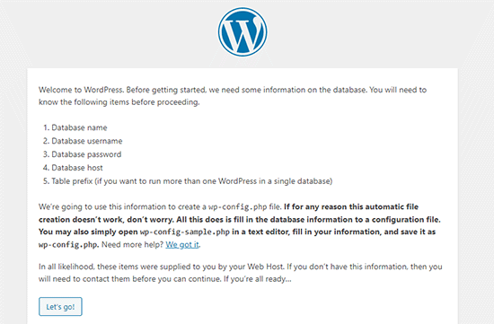 WordPress installation requirements