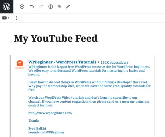 Feed di YouTube incorporato