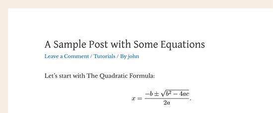 Un'equazione matematica visualizzata in WordPress utilizzando LaTeX