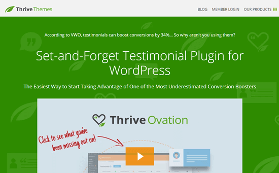 Le site web Thrive Ovation
