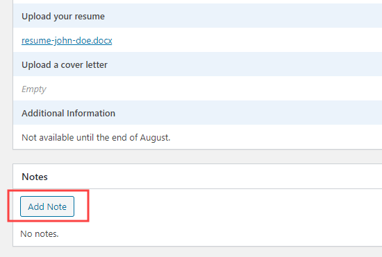 Adding a note to a job application in WPForms