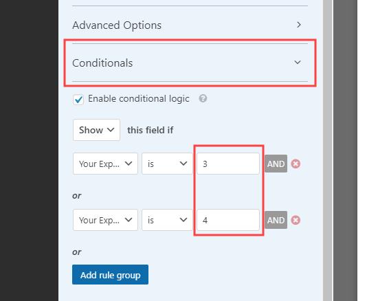 Apertura e modifica della logica condizionale per il campo in WPForms