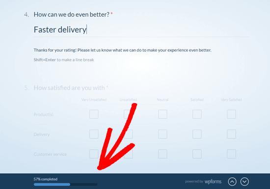 WPForms mostrerà all'utente a che punto sono nel questionario, utilizzando la barra di avanzamento