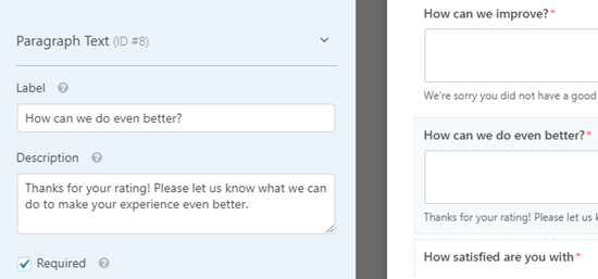 Editing the new feedback box that you've created in WPForms