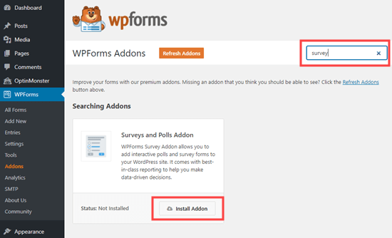 Installazione dell'addon Survey and Polls per WPForms