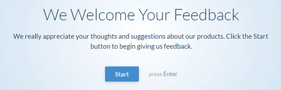 The conversational questionnaire - user clicks the Start button to begin