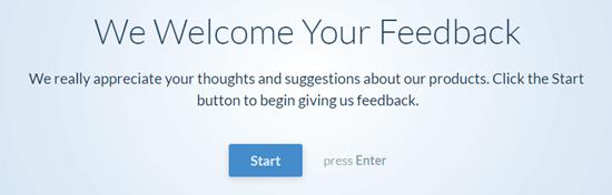 Il questionario conversazionale: l'utente fa clic sul pulsante Start per iniziare